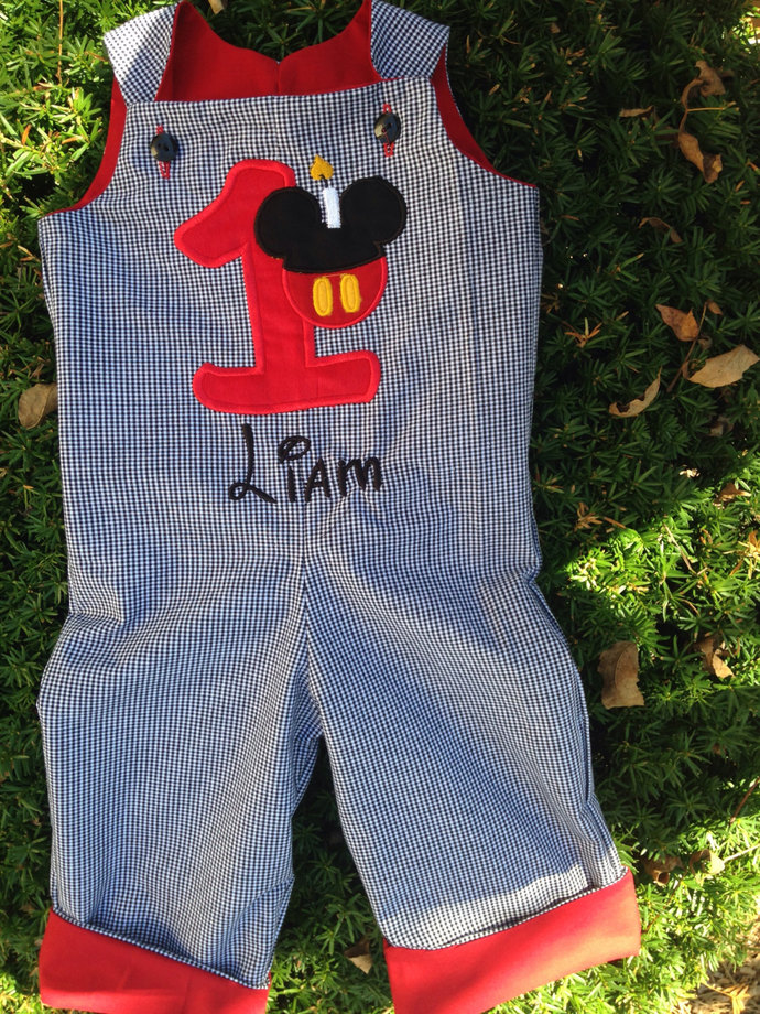 Baby boy FIRST birthday REVERSIBLE mickey mouse and monogramed longall, romper,