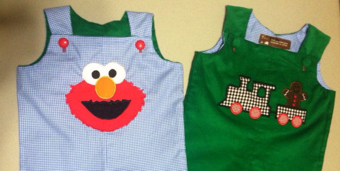 HANDMADE Corduroy reversible overall REmiCs Christmas collection gingerbread