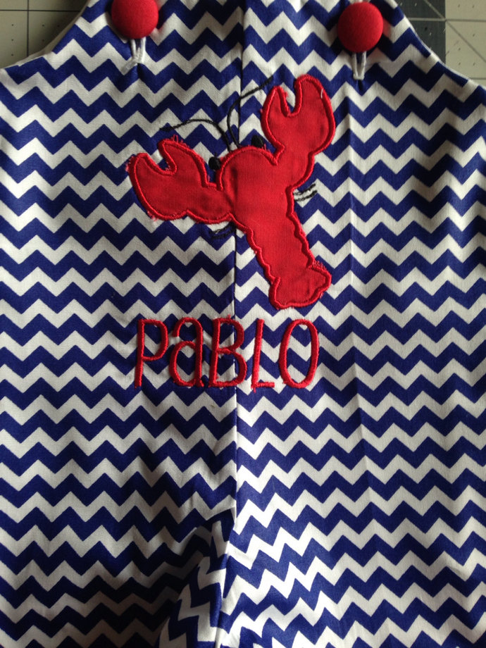 LOBSTER on navy chevron Jon Jon shortall