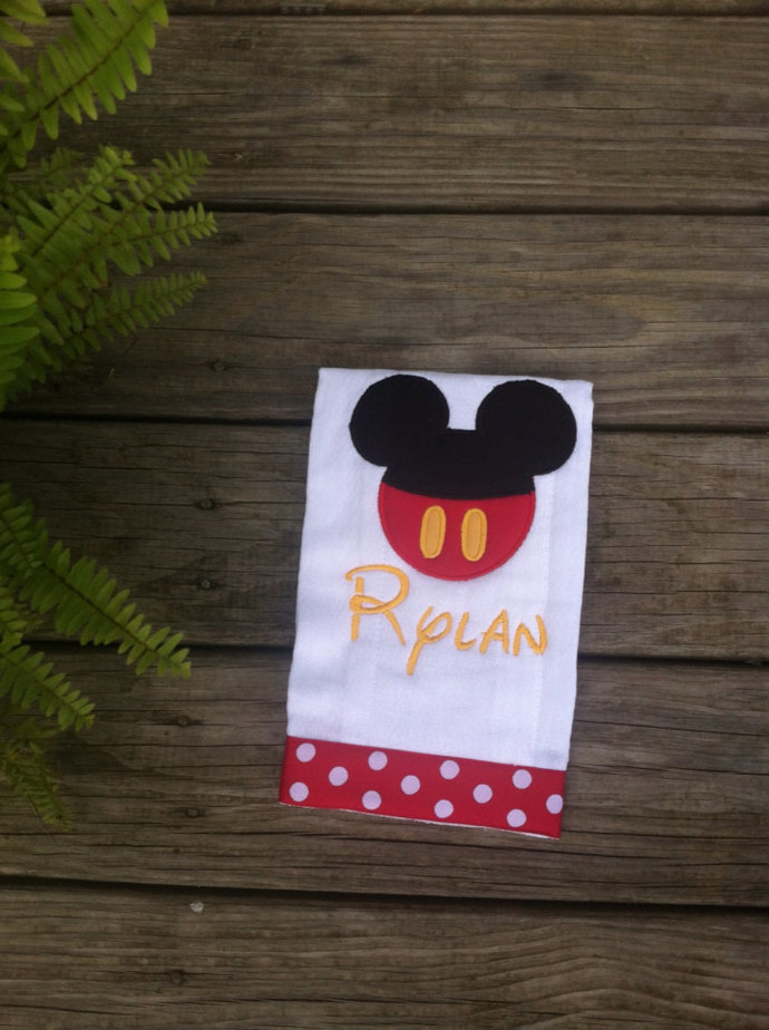 Mickey or Minnie Mouse burp cloth