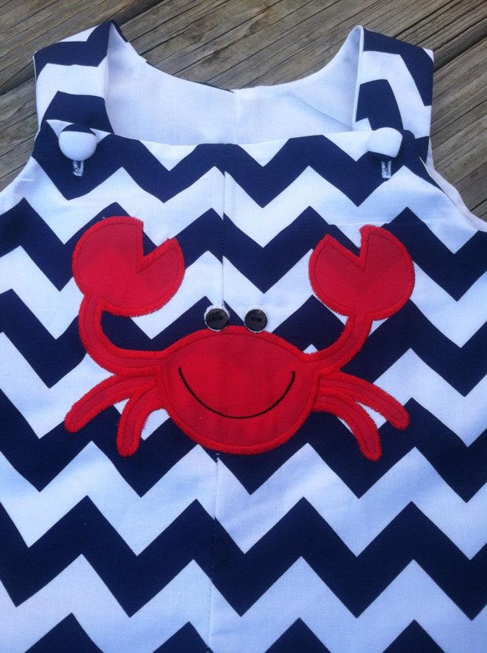 Navy chevron custom boutique boy outfit button eye crab.