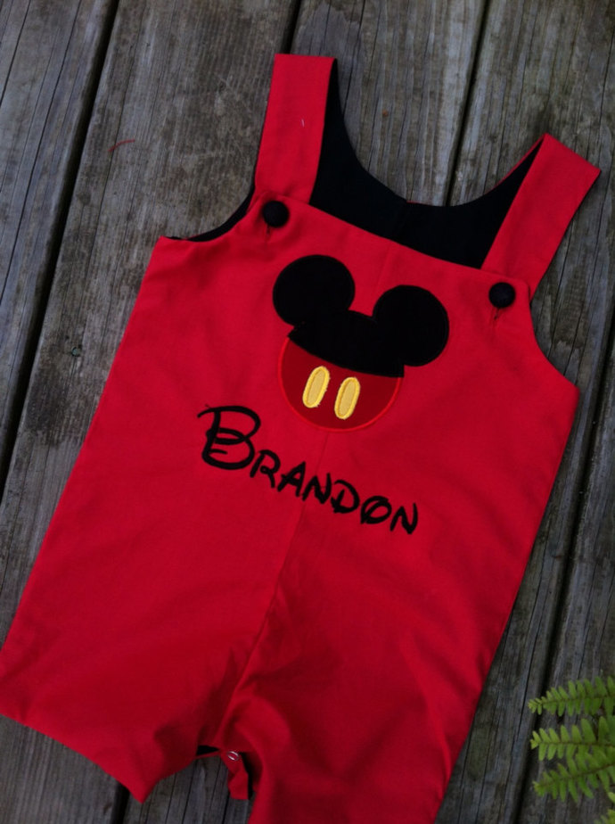 Mickey ears Customized Mickey mouse boy  RED outfit button face appliqués