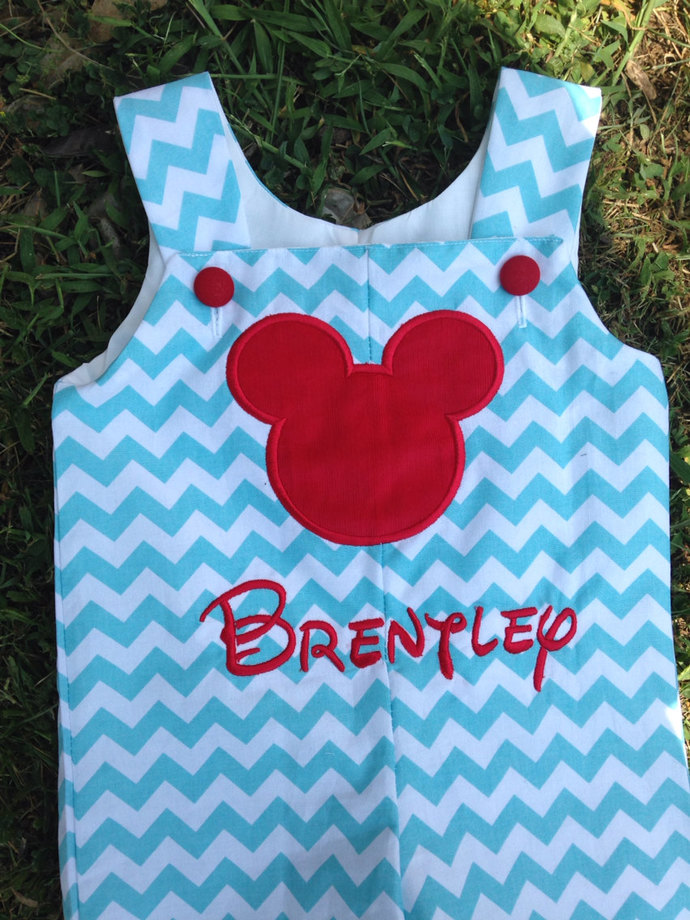 Aqua chevron red Mickey's silhouette