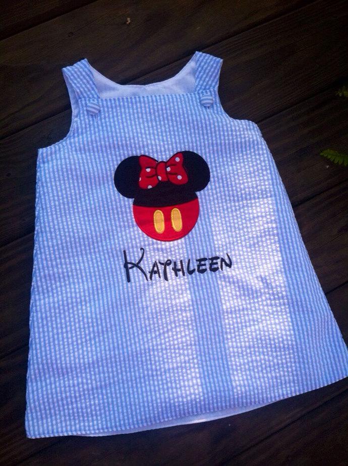 Blue seersucker, girls Minnie Mouse a line dress