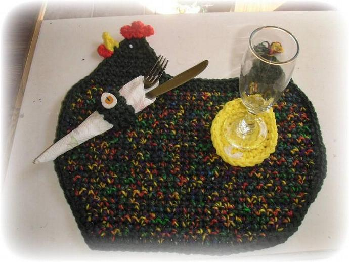 green & multi colored CHICKEN placemat w/ bonus egg coaster & napkin ring LARGE