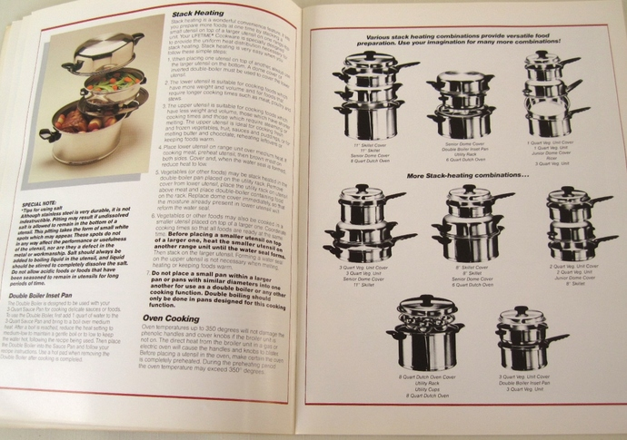 Lifetime Cookware Instruction Manual Recipe Book Owner's Manual Vintage 1980s