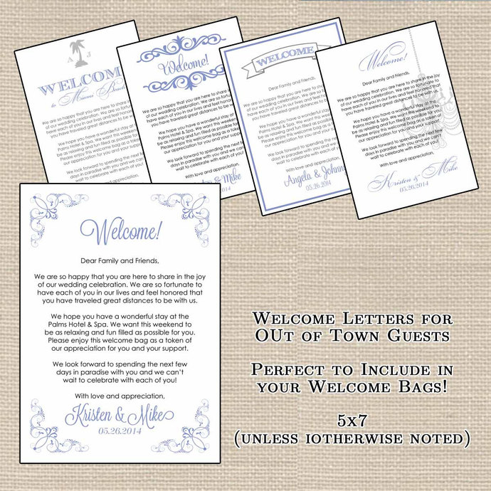 Hotel Welcome Bag Letters And Wedding By DesignsbyDVB On Zibbet