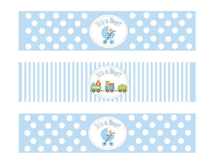 Baby Shower Boy Water Bottle Labels Printable | DesignsbyDVB