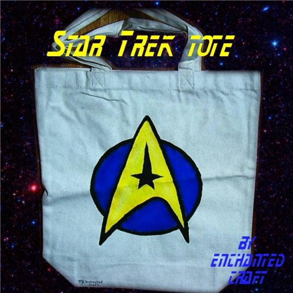 hand painted STAR TREK tote, bag, or shopping bag- get your name on it