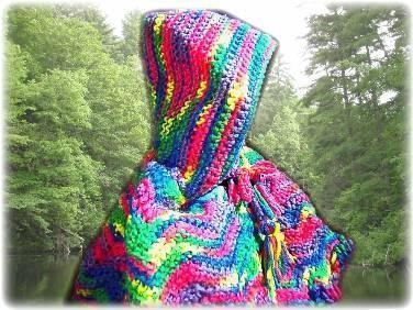 Colorful crochet child's cape with hood SIZE 2T- child can grow into it