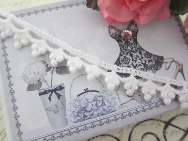 "Elegant Cotton Tiny Dott Lace 0.5"" - White"