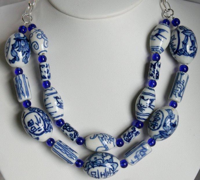 Big Blue and White Bold Chunky Ceramic Beads Dark Blue Glass Beaded 2 Strand