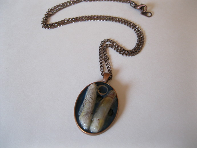 Copper necklace with crazy lace agate in a copper bezel, crazy lace agate