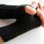 Mens black wool fingerless gloves for hunting or texting