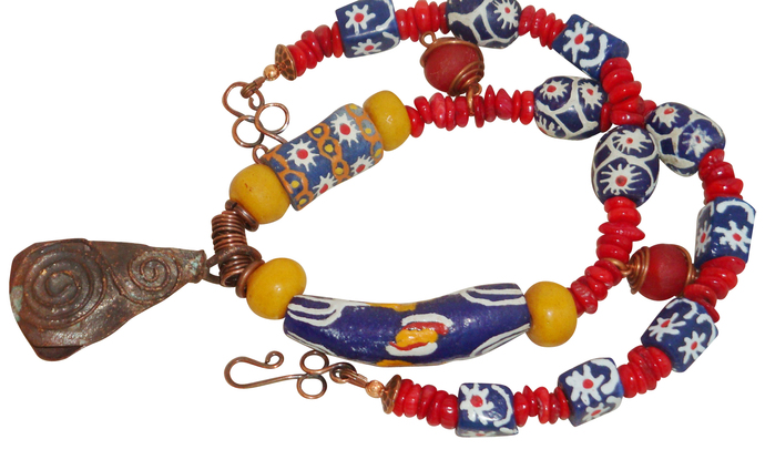 Primary Colored Krobo Bead Necklace