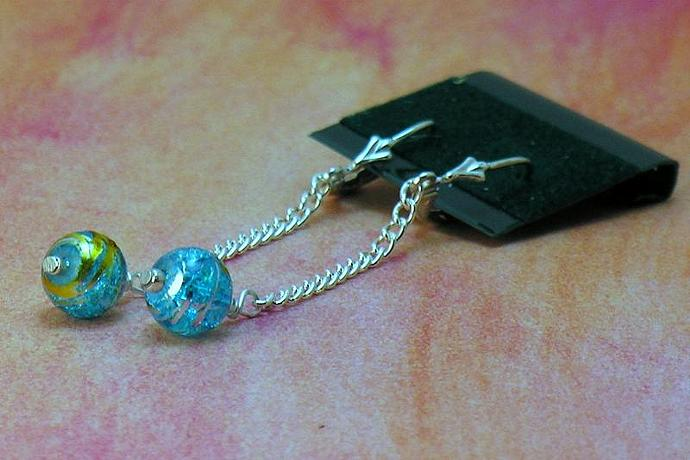 Simple Sterling Silver Dangling Turquoise Bead Earrings