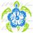 Tribal Hibiscus Sea Turtle Vinyl Decal in 2 Colors Beach Island Sea Tortoise