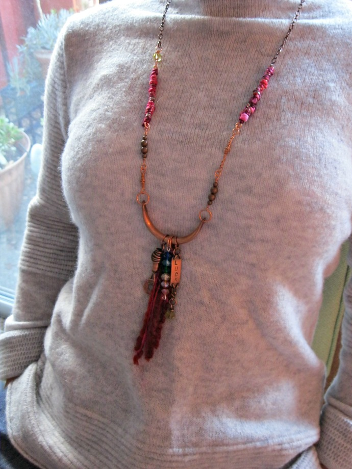 Boho gypsy necklace, bold tribal necklace with handmade charms, rustic tribal