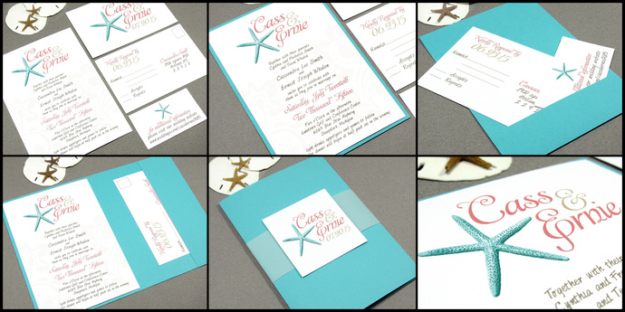 Beach Wedding Invitations, Starfish Wedding Invitation Set, Destination  Wedding