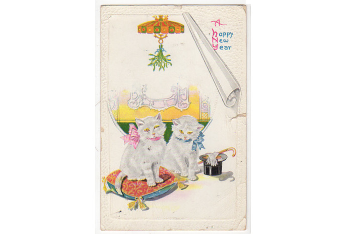 Antique Postcard 1920s New Year Greeting Kittens Cats Top Hat Gloves Hanging