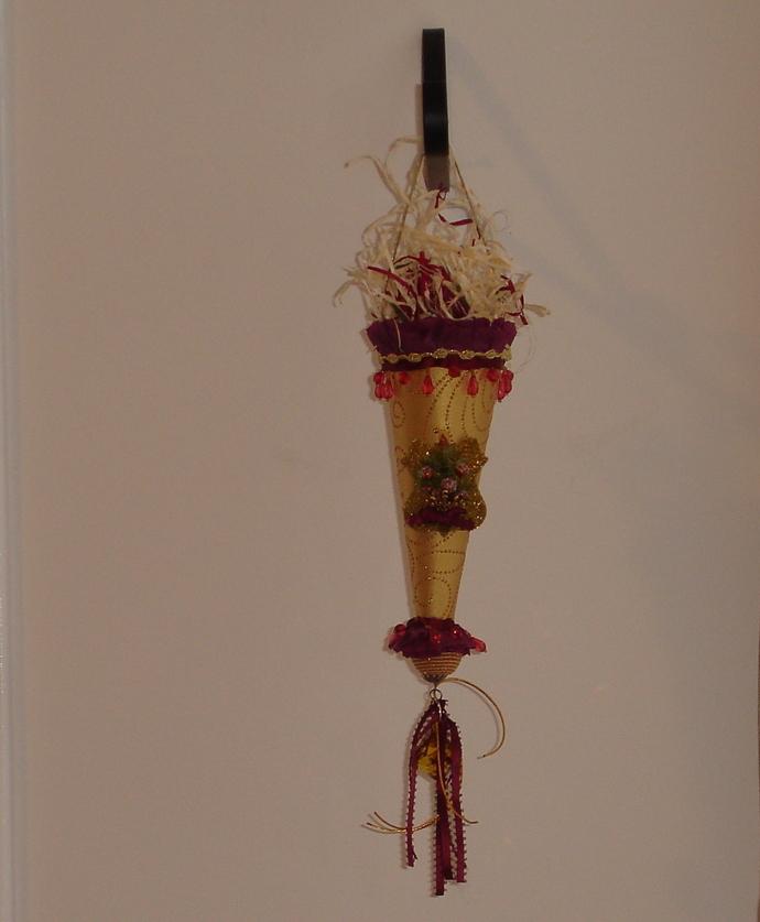 Elegant Christmas Tussie Mussie Cone - Handmade - OOAK