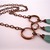 Triple swirl drop copper necklace with aqua green quartz and copper chain,