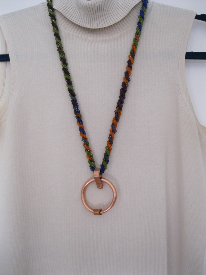 SALE: Copper circle necklace with handmade bail and cord, copper necklace,