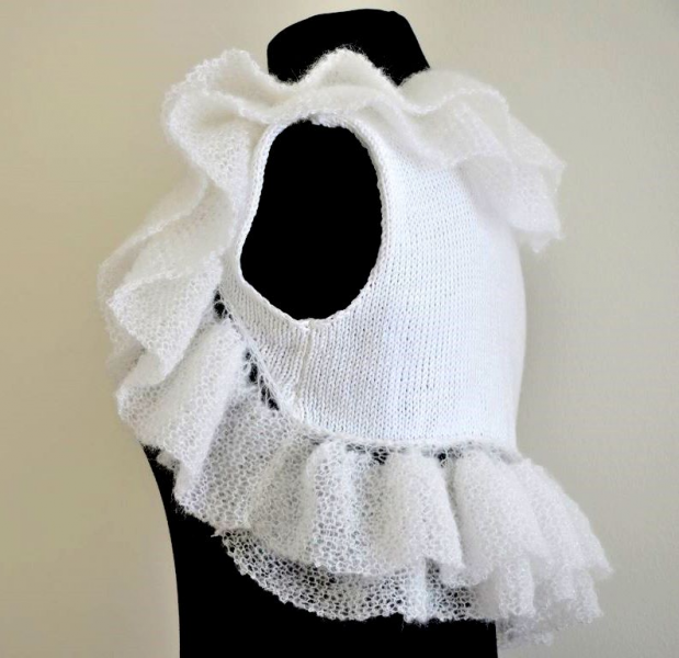 Handmade White Unforgettable Ruffles Bridal Shrug