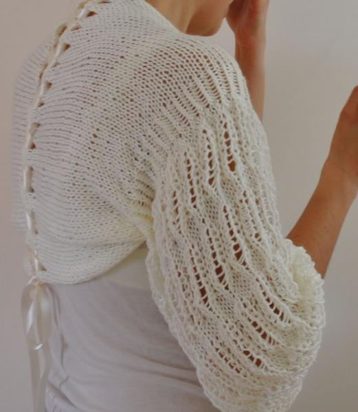 Handmade Ivory Romantic and Soft Shrug