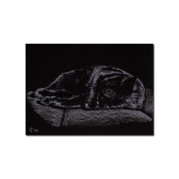 Black CAT Sunshine 9 kitten Halloween chat noir drawing painting Sandrine