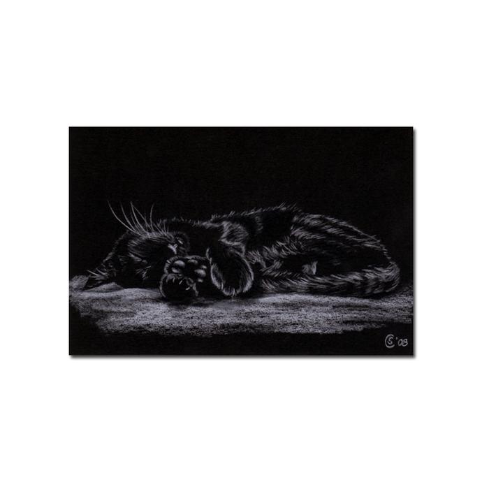 Black CAT Sunshine 14 kitten Halloween chat noir drawing painting Sandrine