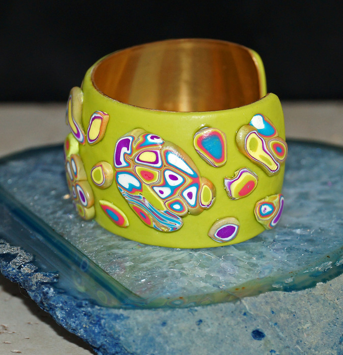Bright Green Polymer Clay Brass Cuff