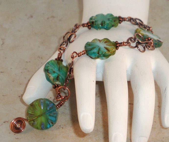 Czech Glass and Copper Bracelet