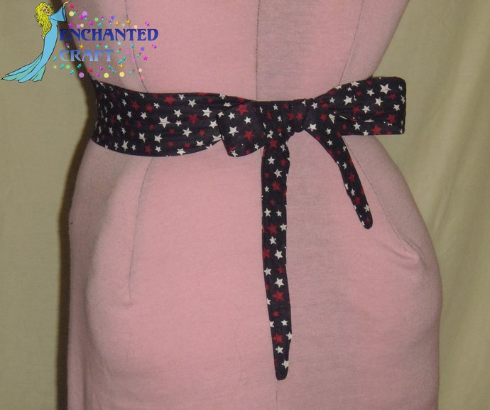Patriotic red, white, navy blue, Tie & Belt SET perfect for Square Dancers 4th