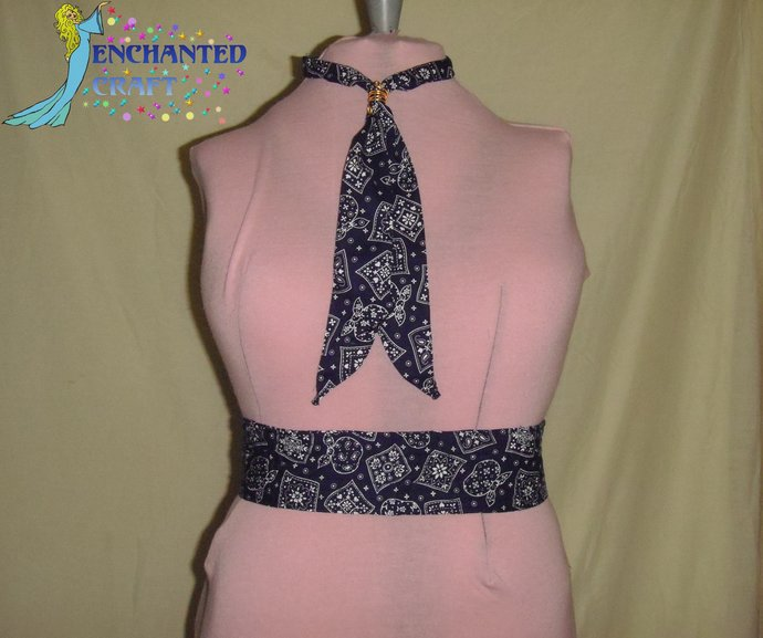 country white, navy blue, Tie & Belt SET perfect for Square Dancers western,