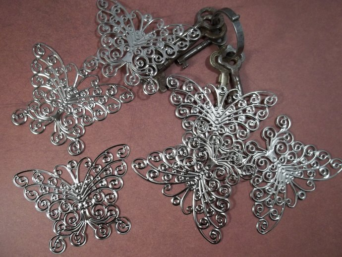 Silver Filigree Butterfly Embellishment (Item #240-P)