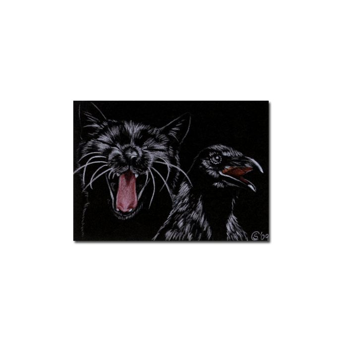 Black CAT RAVEN crow 6 bird Halloween colored pencil drawing painting Sandrine