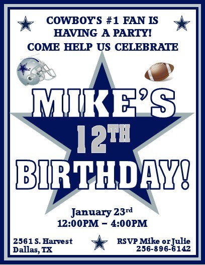 12 Printed Dallas Cowboys Football – Dallas Cowboys Birthday Invitations