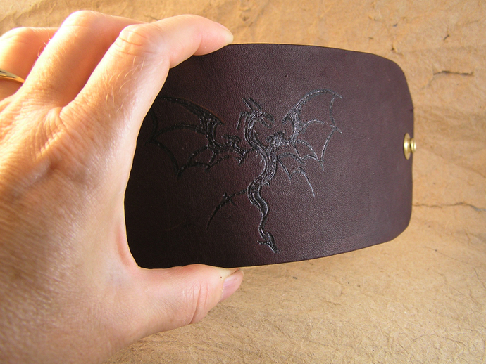 Wood burned dragon leather cuff bracelet