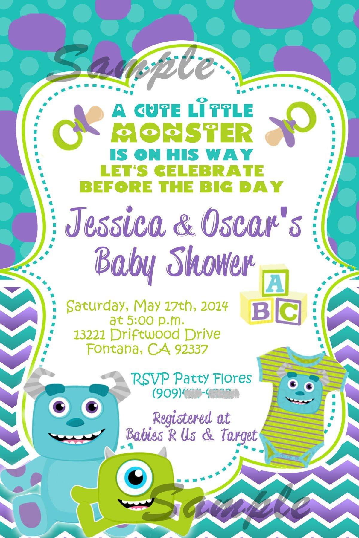 Monsters Inc Baby Shower Invitation