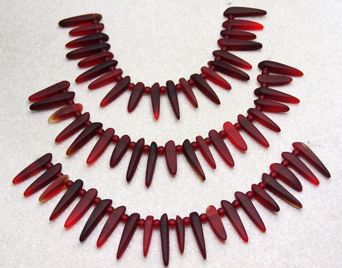 Ruby Daggers- recycled sea glass beads-cultured sea glass beads