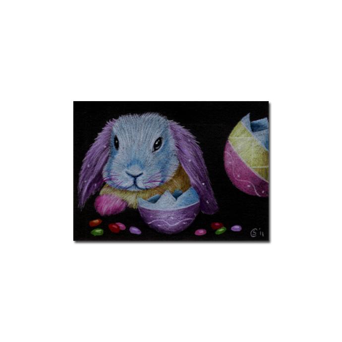 BUNNY 83 rabbit black dutch Easter pet pencil painting Sandrine Curtiss Art