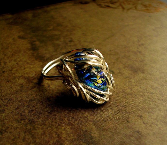 Sunlight Water - Blue Fairy Lava Wire Wrapped Elven Princess Ring - Size 6.75 to