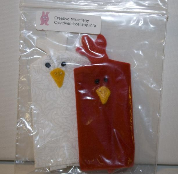 Rooster and Hen Finger Puppet Pair