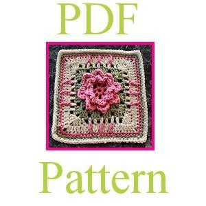 PDF Crochet Pattern - 8 Flower Garden Square