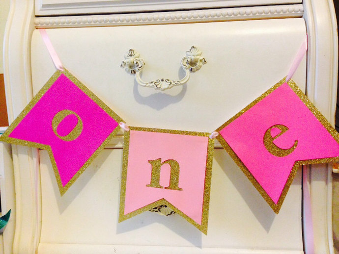 FIRST BIRTHDAY BANNER. Pink and gold girls' by MagnoliaOlive on Zibbet