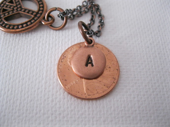 Personalized hand stamped copper necklace with charm, copper initial necklace,