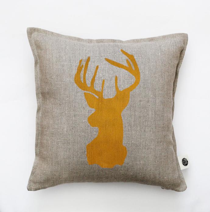 Reindeer head pillow cover - gray linen - decorative covers - throw pillows -