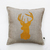 Reindeer head pillow cover - gray linen - decorative covers - throw pillows -