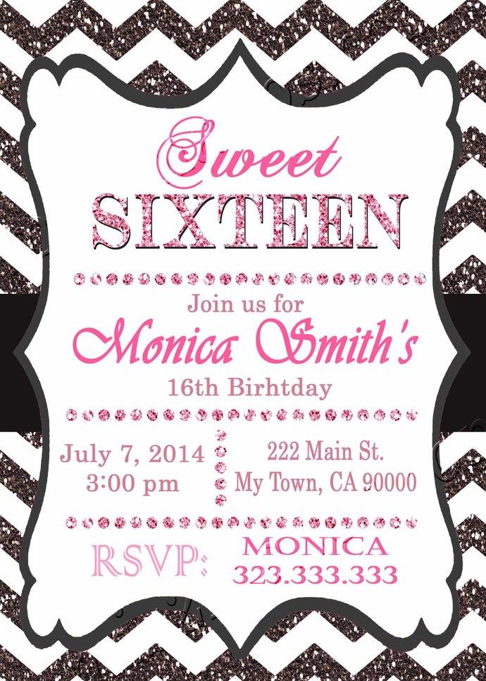 16th birthday invitation - Sweet Sixteen invitation - Teen birthday Chevron